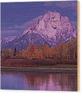Panoramic Fall Morning Oxbow Bend Grand Tetons National Park Wyoming Wood Print