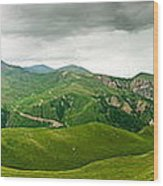 Panoramic Green Mountains Wood Print by Boon Mee