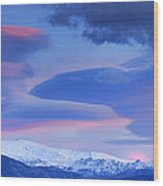 Panoramic Lenticular Clouds Over Sierra Nevada National Park Wood Print