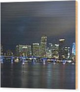 Panoramic Of Miami Florida Wood Print