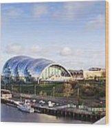 Panoramic Of Newcastle And Gateshead Quayside Wood Print