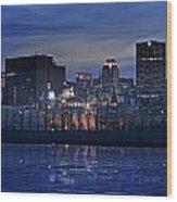 Panoramic Of Skyline At Dusk, Montreal Wood Print