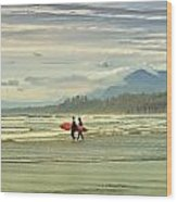 Panoramic Of Surfers On Long Beach, Bc Wood Print