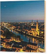 Panoramic Of Verona At Dusk Wood Print