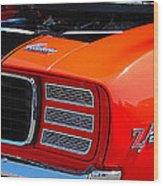 panoramic orange Z28 Camaro Wood Print