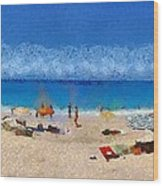 Panoramic Painting Of Porto Katsiki Beach Wood Print