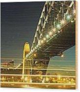 Panoramic Photo Of Sydney Harbour Bridge Night Scenery Wood Print