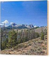 Panoramic Sawtooth Range And Little Redfish Lake Wood Print by Robert Bales
