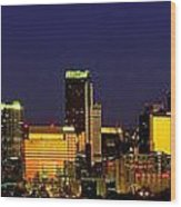 Panoramic Skyline Charlotte Nc Wood Print by Patrick Schneider
