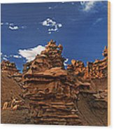 Panoramic Sunset Light On Sandstone Formations Fantasy Canyon  Wood Print