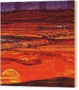 Panoramic Sunset Painting Wood Print