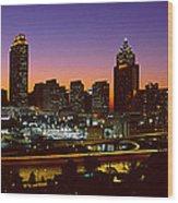 Panoramic View Of Atlanta Skyline Wood Print