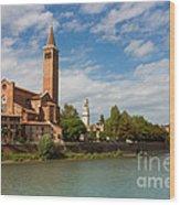 Panoramic View Of Dominican Church Of Sant'anastasia In Verona Wood Print