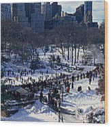 Panoramic View Of Ice Skating Wollman Wood Print