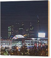 Panoramic View Of Kiev Railroad Station And Europe Square At Night Wood Print