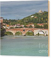 Panoramic View Of Ponte Pietra In Verona Wood Print