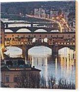 Panoramic View Of Ponte Vecchio - Florence - Tuscany Wood Print
