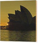 Panoramic View Of Sunrise At Sydney Opera House Wood Print