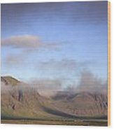 Panoramic View Of The Mountains Lit By The Sun Wood Print