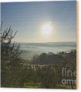 Panoramic View Over The Foggy Field Wood Print
