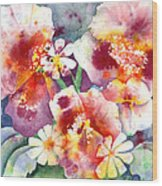 Pansies And Daisies Wood Print by Kathleen McGee
