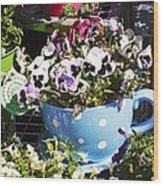 Cup Of Pansies Wood Print
