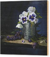 Pansies In A Tin Can Wood Print