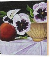 Pansies In Bowl Wood Print