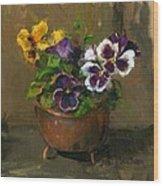 Pansies In Copper Pot Wood Print