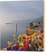 Pansies On Lake Maggiore Wood Print