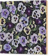 Pansy Faces Wood Print