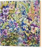 Pansy Path Wood Print by Ann  Nicholson