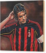 Paolo Maldini Wood Print by Paul Meijering