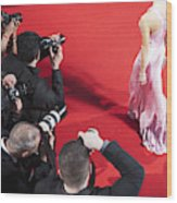 Paparazzi taking pictures of celebrity on red carpet Wood Print