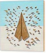 Paper Airplanes Of Wood 10 Wood Print