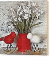 Paper Bouquet And Rocking Birds Wood Print