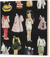 Paper Doll Amy Wood Print by Marilyn Smith