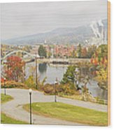 Paper Mill And Fall Colors In Rumford Maine Wood Print