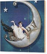 Paper Moon Wood Print by Linda Lees