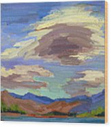Papoose Lake And Clouds Wood Print