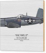 Pappy Boyington F4u Corsair - White Background Wood Print
