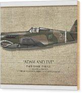 Pappy Boyington P-40 Warhawk - Map Background Wood Print