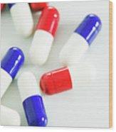 Paracetamol Drug Capsules Wood Print