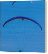 Paragliding In Blue Wood Print