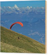 Paragliding In The Mountains Wood Print