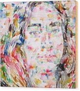 Paramahansa Yogananda Watercolor Portrait Wood Print