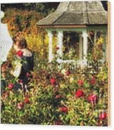 Parasol In Rose Garden Wood Print