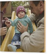Parents with baby playing on slide Wood Print