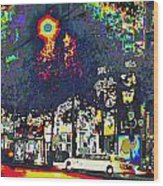 Paris At Midnight Limo Pleasure Drive Wood Print