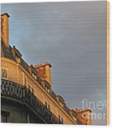 Paris At Sunset Wood Print